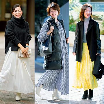 【リアル愛着服】冬はきれい色で華やかに!エクラ華組「スカート&ワンピ」コーデ3選