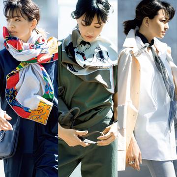 【今どきスカーフコーデ5選】マダム戸野塚が指南!50代に似合うスカーフスタイル