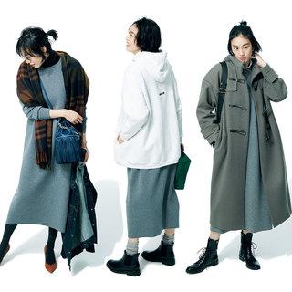体型やテイストを問わず着られる「クルーネックワンピース」を着まわし!
