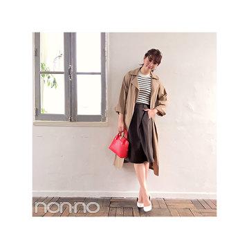 毎日コーデ★岡本杏理はスカート見えパンツを大人っぽスタイルに