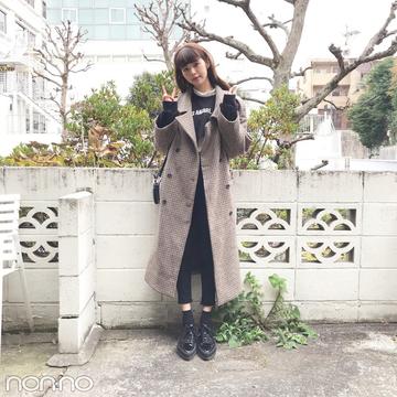 鈴木優華のコーデの主役★STYLENANDAで買ったチェックのチェスターコート【モデルの私服】