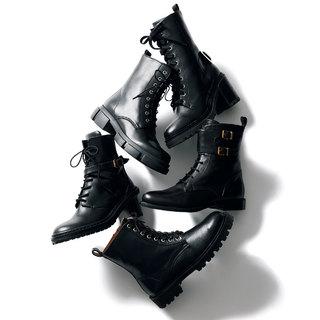 女っぽさはそのままにかっこいいムードがプラス「黒のコンバットブーツ」【明日から秋本番まで履ける靴】