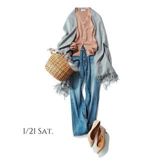 着やせする艶ありカーデに最新の美脚デニムを合わせて春を待ちわびる