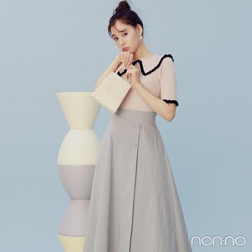 新木優子はシュガーピンクと上品なブルーで大人の甘さを表現【毎日コーデ】