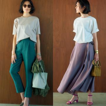 【アラフィーのベージュTコーデ2選】品格漂うベージュの力でパンツもスカートも上品に決まる!