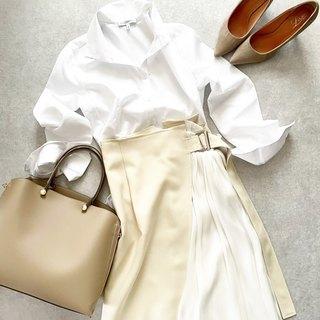 白シャツ×異素材mixスカートできれいめスタイル【tomomiyuコーデ】