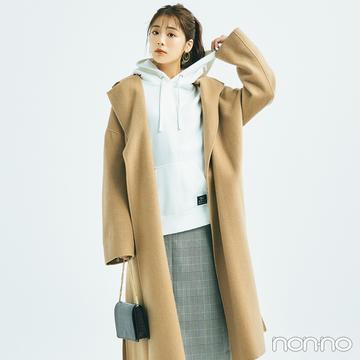 きれいめコートにパーカを合わせた意外性のあるコーデで新鮮に【毎日コーデ】