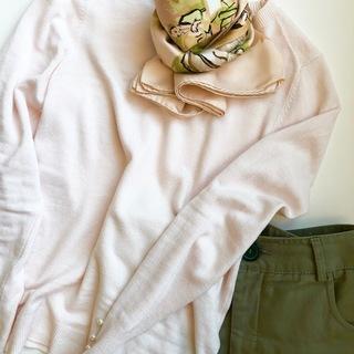 40代の上品ピンク!春色スカーフで先取りコーデ