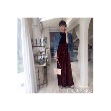 鈴木優華はベロアパンツで女っぽく♡ 【毎日コーデ】