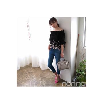毎日コーデ★鈴木友菜は黒のオフショルをデニムで大人可愛く!