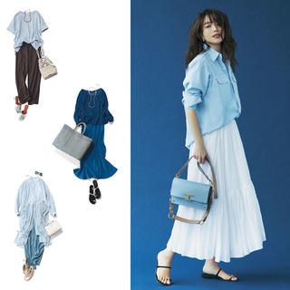 【夏に映えるブルーコーデまとめ】アラフォーが上品かつこなれて見えるコーデのポイントとは? |40代ファッション