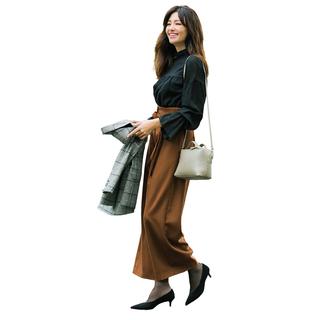 パンツの日のタイツ×靴はダークカラー一択で!
