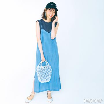 西野七瀬はノースリTシャツとキャミワンピでラフさも女っぽさもゲット♡【毎日コーデ】