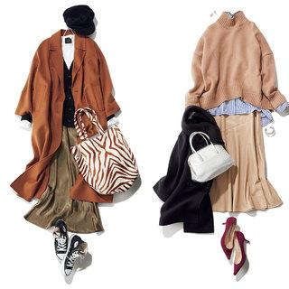 おしゃれ上級者「エコレザー」スカート&旬度No.1「光沢ナロー」スカートをシーン別にとことん着まわし!