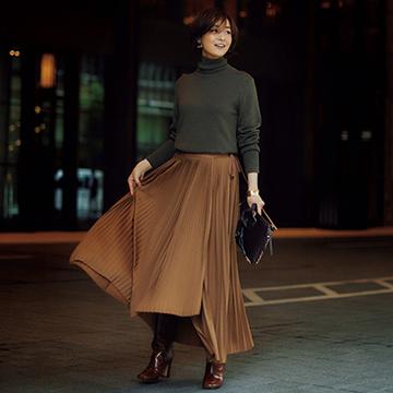 「ロングブーツ」×マキシ丈スカートで全身をブラッシュアップ【アラフィー華やぎスタイル】
