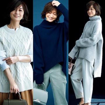 【2020年冬ファッション】50代向け冬のニットコーデカタログ。春まで大活躍!冬に映えるニットスタイル43