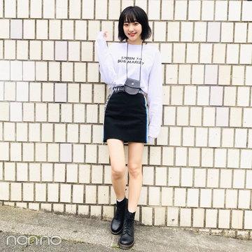武田玲奈はドクターマーチンのミニ財布&ブーツでモノトーンコーデ【モデルの私服スナップ】
