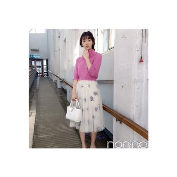 江野沢愛美は花柄チュールスカートで春を先取り!【毎日コーデ】