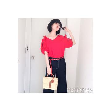 本田翼の赤×ネイビーコーデは抜け感たっぷり♡【毎日コーデ】