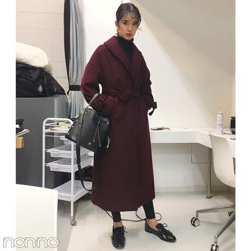 佐谷戸ミナの冬はエゴイストのボルドーコート×高見えプチプラ服!【モデルの私服】