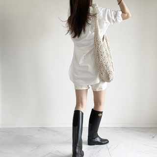 雨の休日 ロングシャツとレインブーツコーデ:OOTD【40代 私のクローゼット】