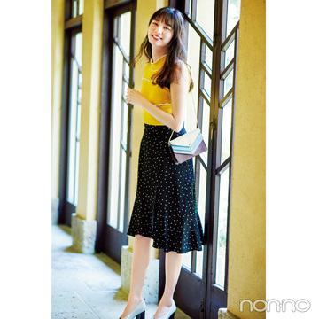 新川優愛は顔映えのイエローとマーメイドスカートで華やぎコーデに【毎日コーデ】