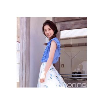 毎日コーデ★泉はるは花柄スカートをブルー&イエローで爽やかに