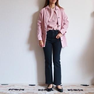 まだまだ履きたいフレア黒デニムはピンク多めで優しげに(見えるといいな)