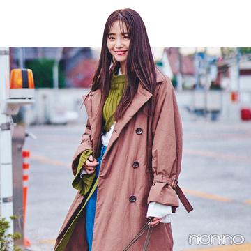 横田真悠の冬私服♡ 明るめカラー使いとあったかトレンチコートがポイント!