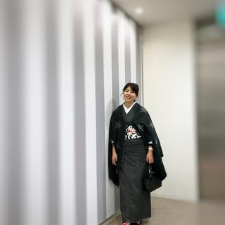 ブラックデニムの着物にパンダの帯で上野散歩