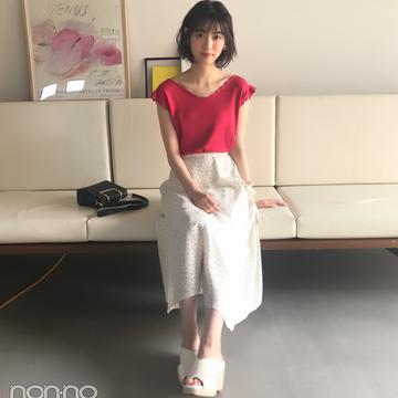 西野七瀬はドット柄スカートに赤のニットで華やかに♡ 【毎日コーデ】