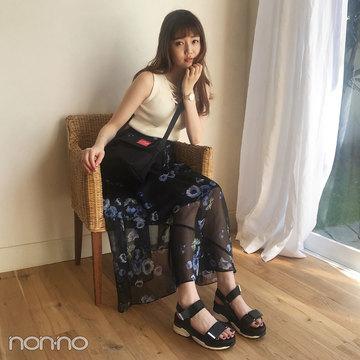 松川菜々花はレディアゼルのノースリ&ティティのスカートで大人っぽく【モデルの私服スナップ】