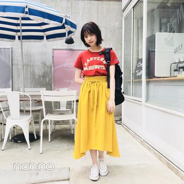 西野七瀬のイエロースカート×ロゴTコーデがやんちゃカワイイ【毎日コーデ】
