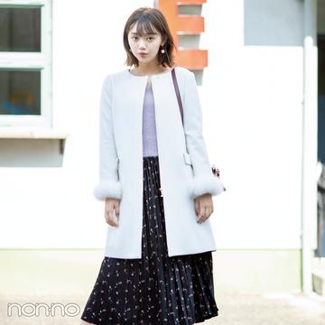 ファーつきコートと花柄スカートの相性って最高♡ 今すぐ最新コーデをチェック!