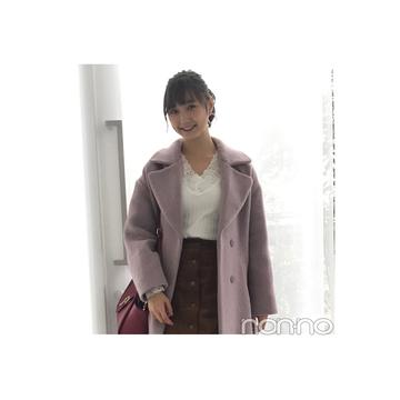 鈴木友菜が着回す♡ くすみピンクのコクーンシルエットコート【毎日コーデ】