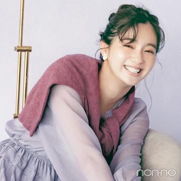 新川優愛が今年人気のラベンダーで「あいまい配色」コーデ