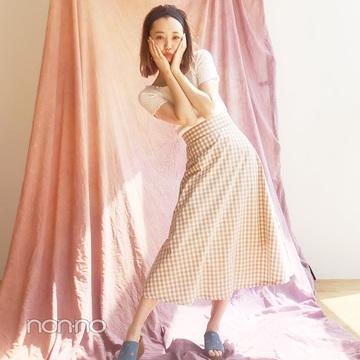 江野沢愛美はギンガムスカート×サボミュールの全身GU今っぽコーデ【毎日コーデ】