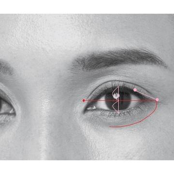 3.ラインの角度は、涙袋の延長線に交わる終点につなげると自然