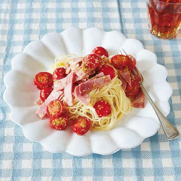 たった2食材★簡単すぎて感激! ハムとトマトのナムル風パスタ