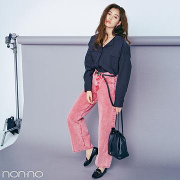 新木優子 meets ディーゼルのカラーデニム★チェリーレッドはこう着る!