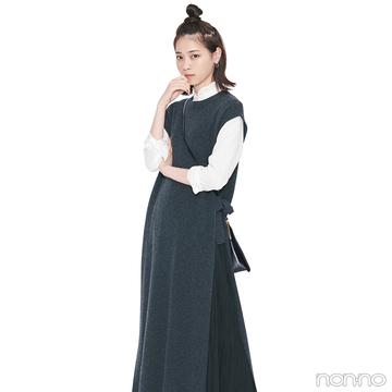 西野七瀬はスカート+ワンピのレイヤードでトレンドシルエット【毎日コーデ】