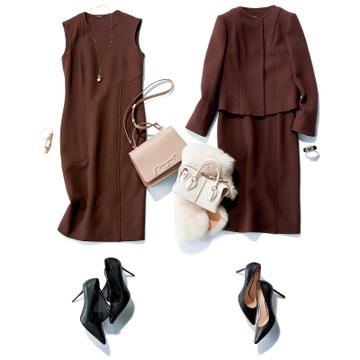 【小物で簡単にビジネスドレスアップコーデ③】ブラウンカラーのジャケット×ワンピース