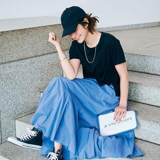 私らしくて、頼れる服を軸に。Tシャツ+スカートで作る「 時短コーデ」