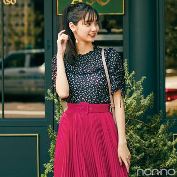 【土曜日】新川優愛のデートコーデはベリー色スカートが主役!