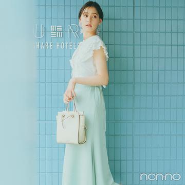 新木優子はビッグ衿ブラウスとサテンスカートでレディな雰囲気【大学生の毎日コーデ】