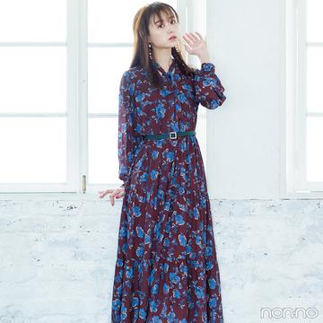 赤っぽブラウン+ブルーの花柄ワンピでレディに変身!【毎日コーデ】