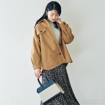 シャツジャケットと花柄スカートで今っぽミックスカジュアル【毎日コーデ】
