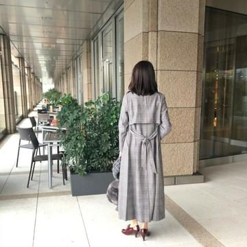 チェックのコートでランチに♡_1_2