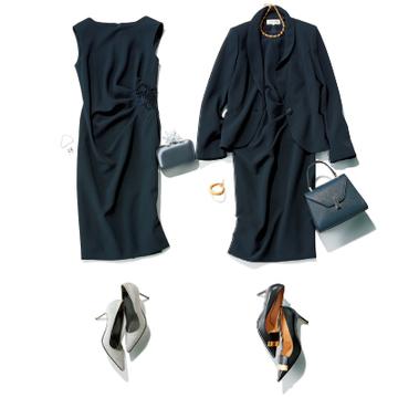 【小物で簡単にビジネスドレスアップコーデ①】ネイビーのジャケット×ワンピース