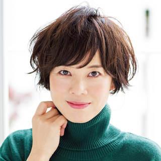 女っぷりのあがるマッシュショートヘア【40代のショートヘア】